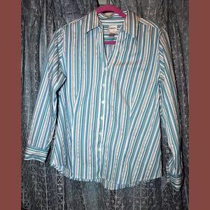 CHICO'S  Striped Woven Button Blouse Chico Sz 2